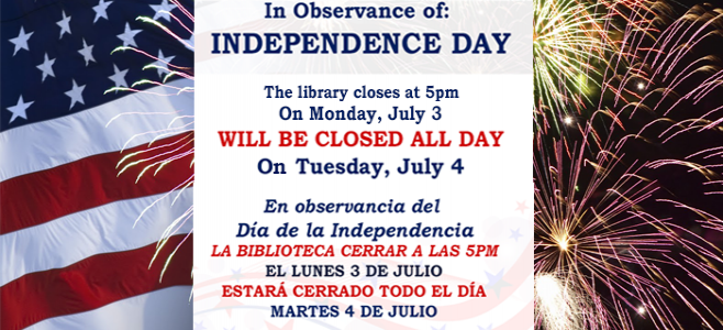 The library will be closed on July 4th.